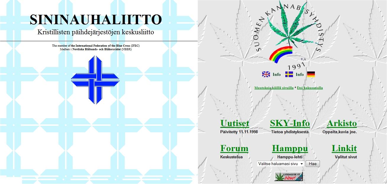 Näkymät Sininauhaliiton ja SKY:n nettisivuilta vuodelta 1998